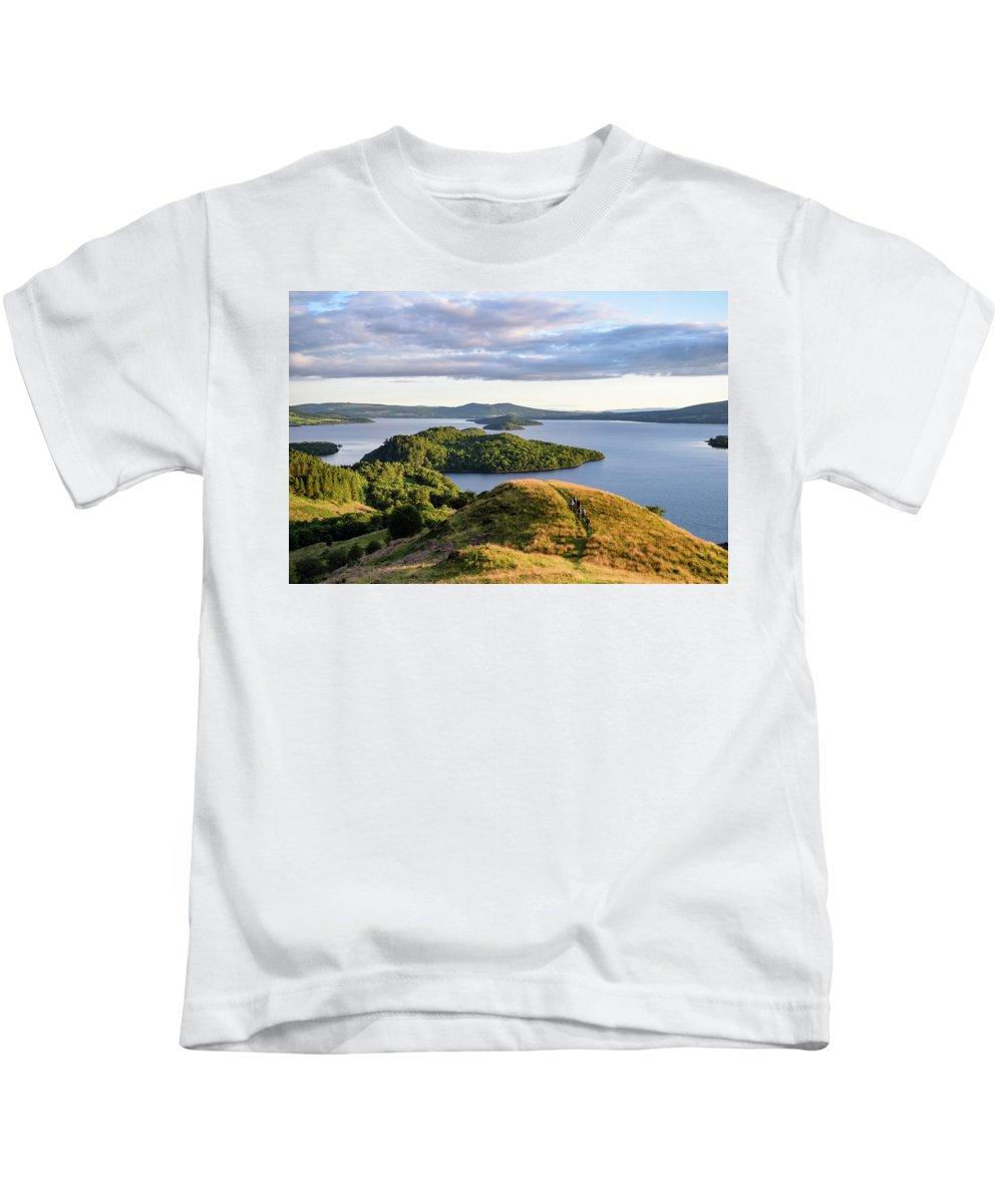 Activity Kids T-Shirt featuring the digital art Conic Hill Balmaha Uk by Gary Ellis