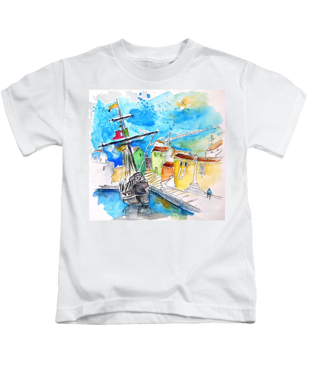 Portugal Kids T-Shirt featuring the painting Conquistador Boat In Portugal by Miki De Goodaboom