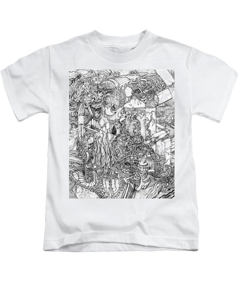 Kids T-Shirt featuring the drawing Constrictor by Robert Allison