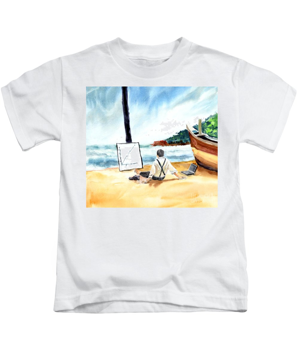Landscape Kids T-Shirt featuring the painting Contemplation by Anil Nene