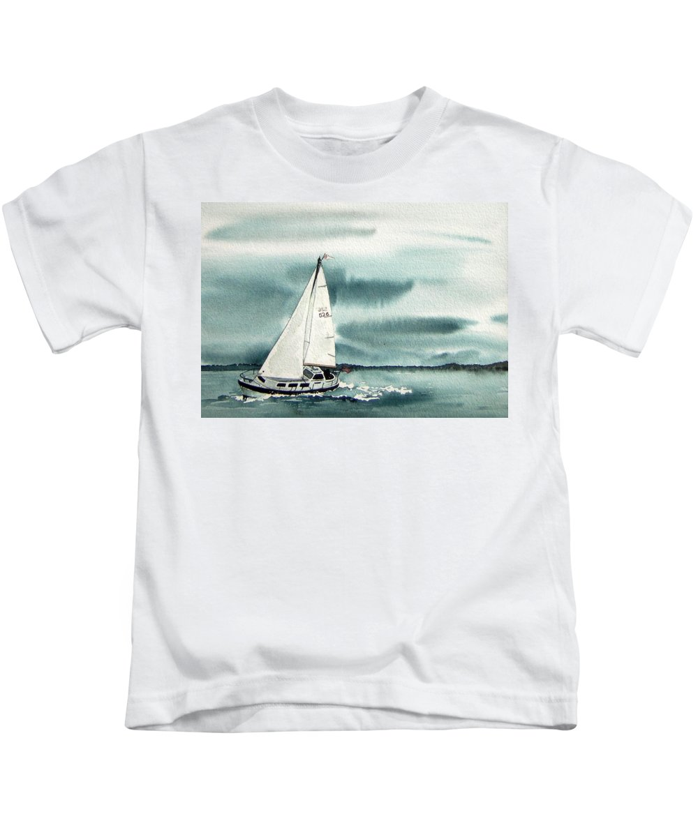 Sailing Kids T-Shirt featuring the painting Cool Sail by Gale Cochran-Smith