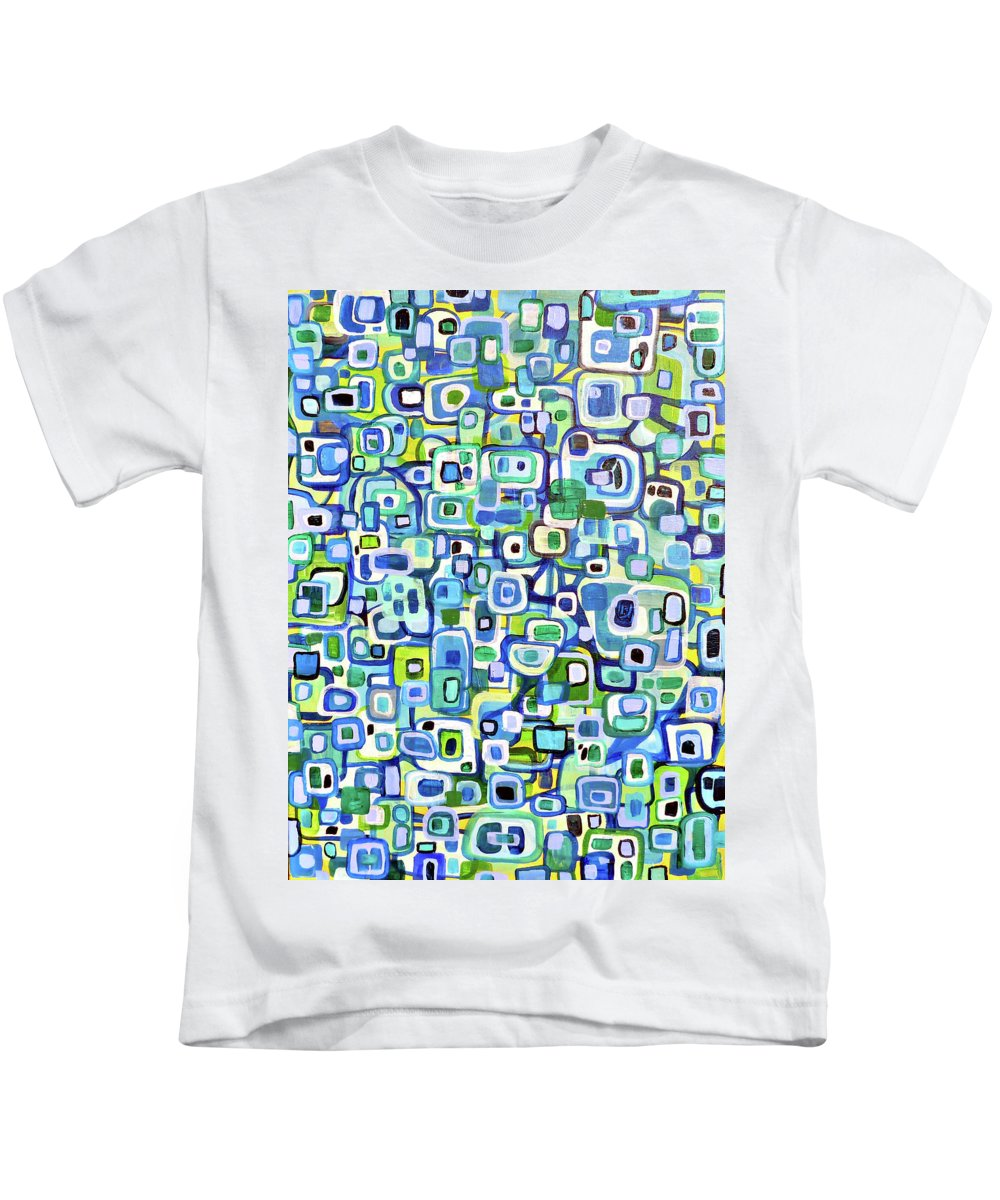 Shapes Kids T-Shirt featuring the painting Cool Squares And Shapes by Larry Calabrese