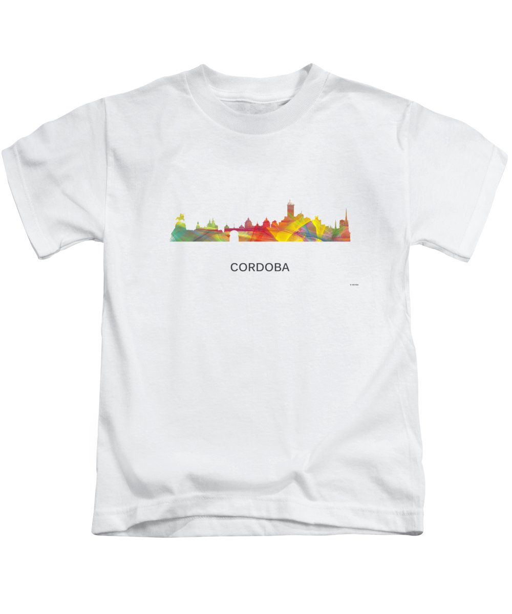 Cordoba Argentina Skyline Kids T-Shirt featuring the digital art Cordoba Argentina Skyline by Marlene Watson
