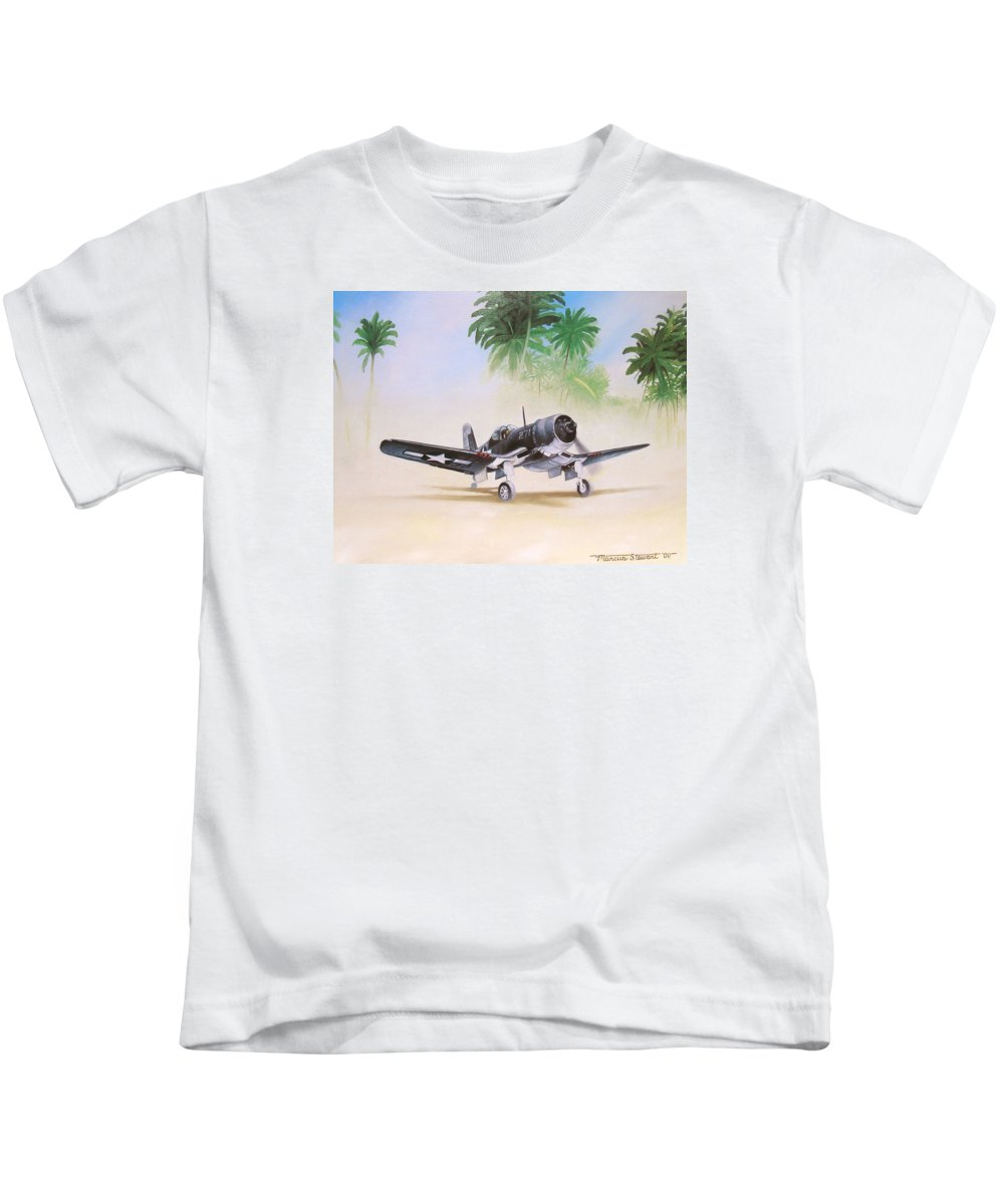 Aviation Kids T-Shirt featuring the painting Corsair Preflight by Marc Stewart