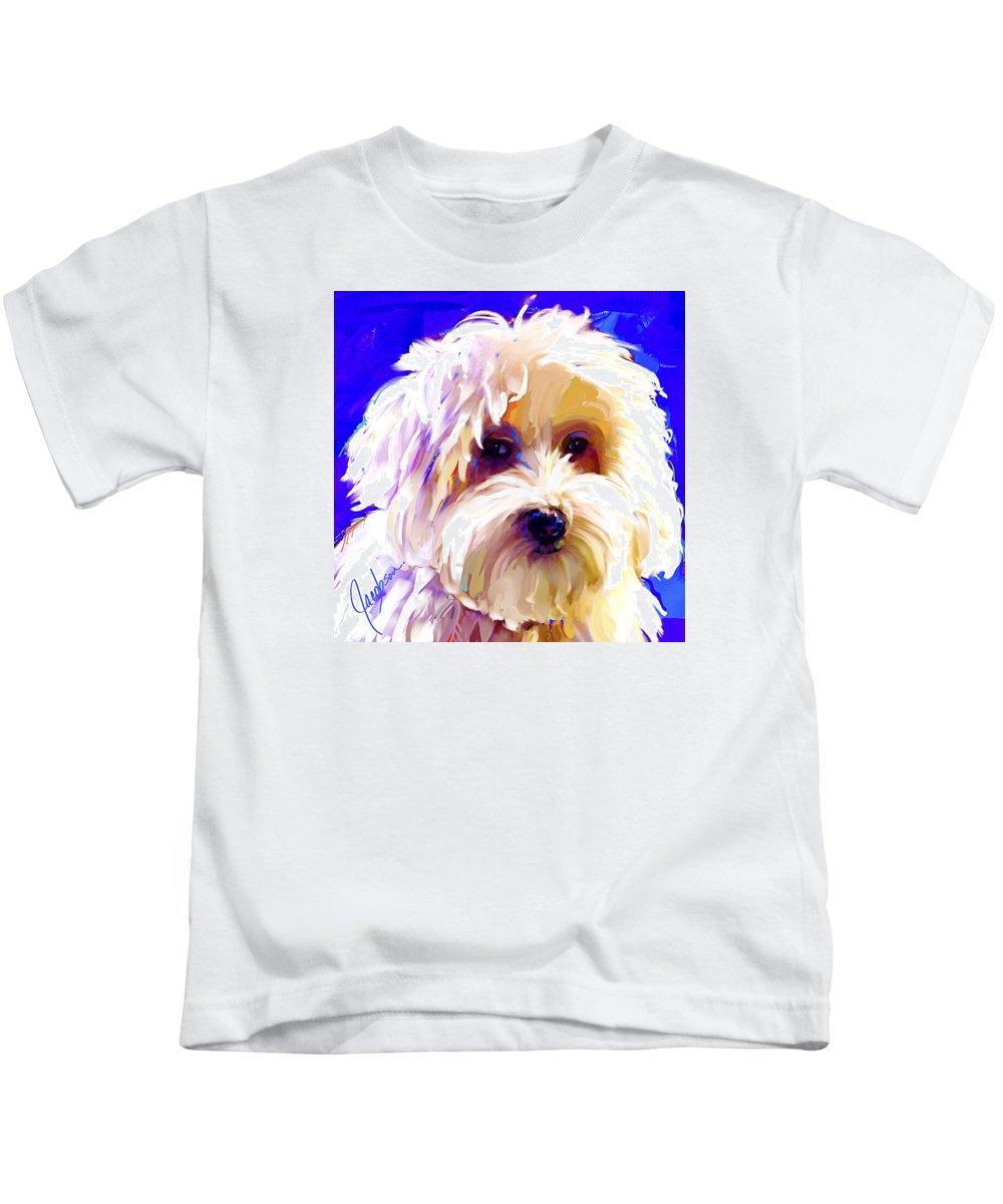 Coton De Tulear Kids T-Shirt featuring the painting Coton De Tulear 2 by Jackie Jacobson