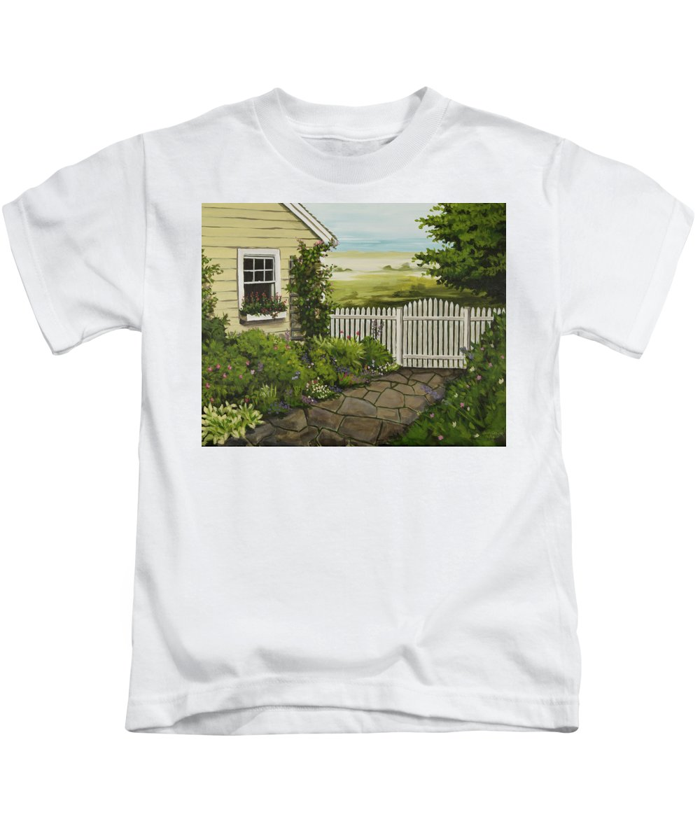 Cottage Kids T-Shirt featuring the painting Cottage Garden Beach Getaway by Josh Creek