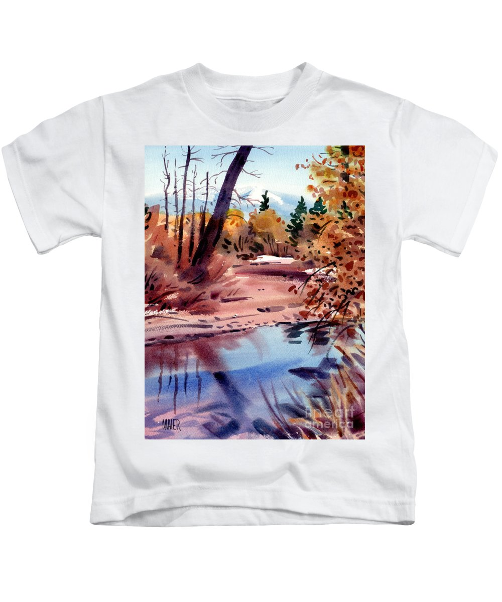 Cottonwood Trees Kids T-Shirt featuring the painting Cottonwoods In October by Donald Maier