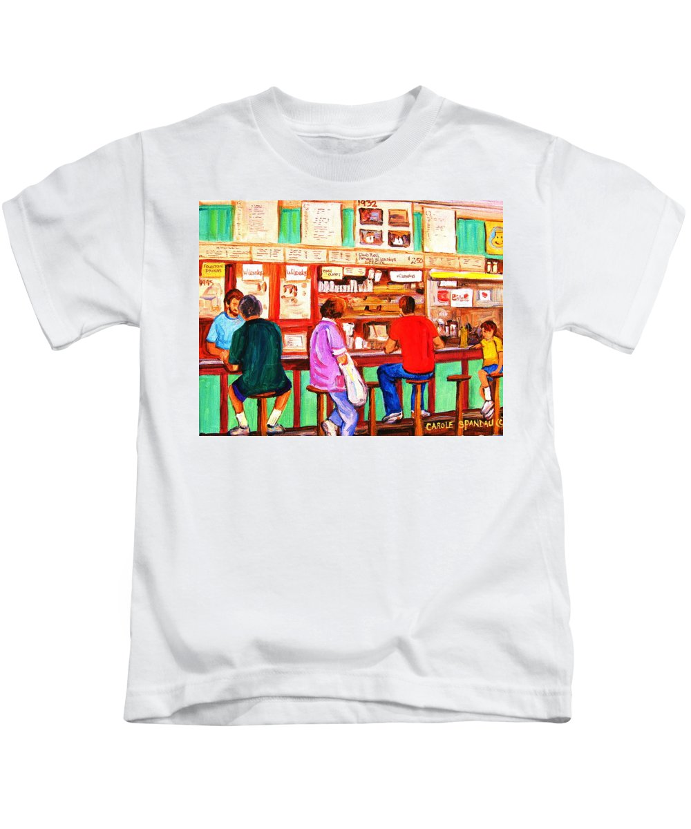 Montreal Kids T-Shirt featuring the painting Counter Culture by Carole Spandau