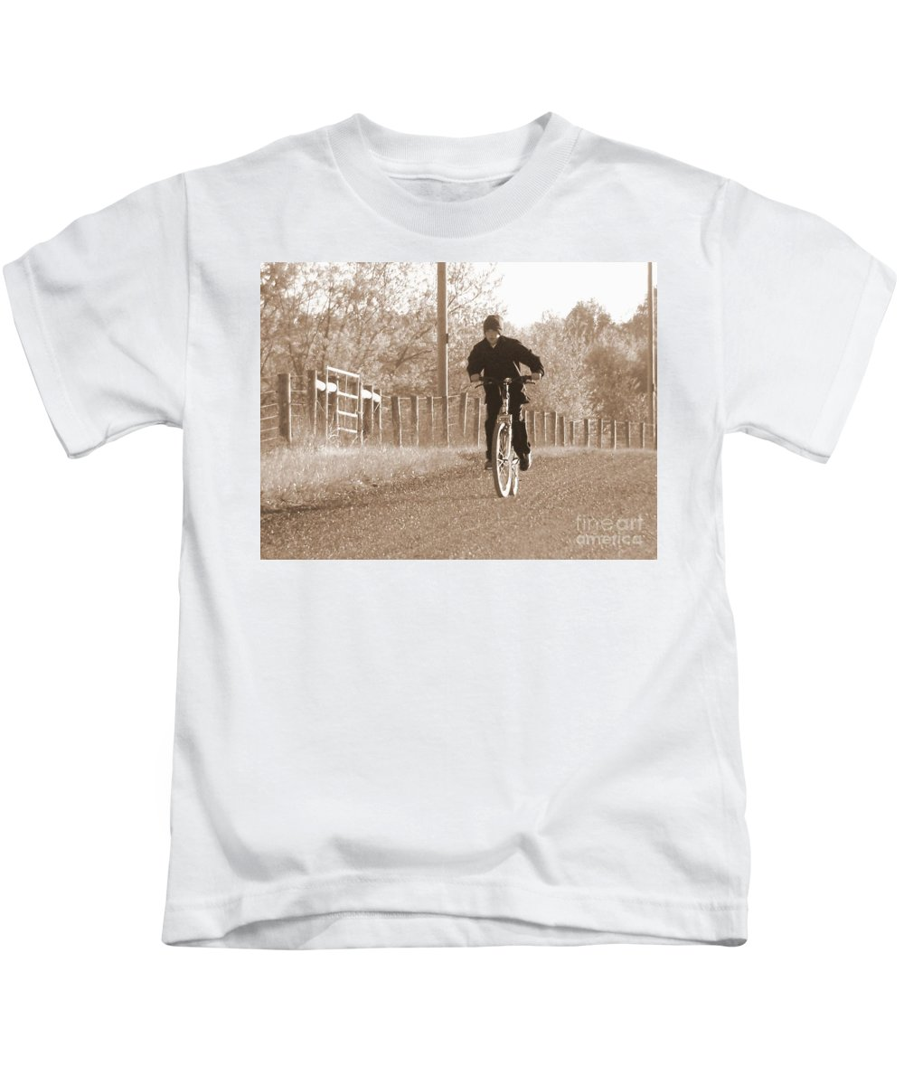 Country Kids T-Shirt featuring the photograph Country Boy And His Bike by Charlene Cox