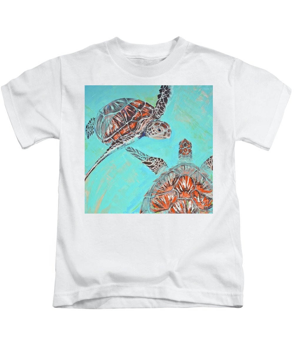 Turtles Kids T-Shirt featuring the painting Couple Breathing by Paola Correa de Albury