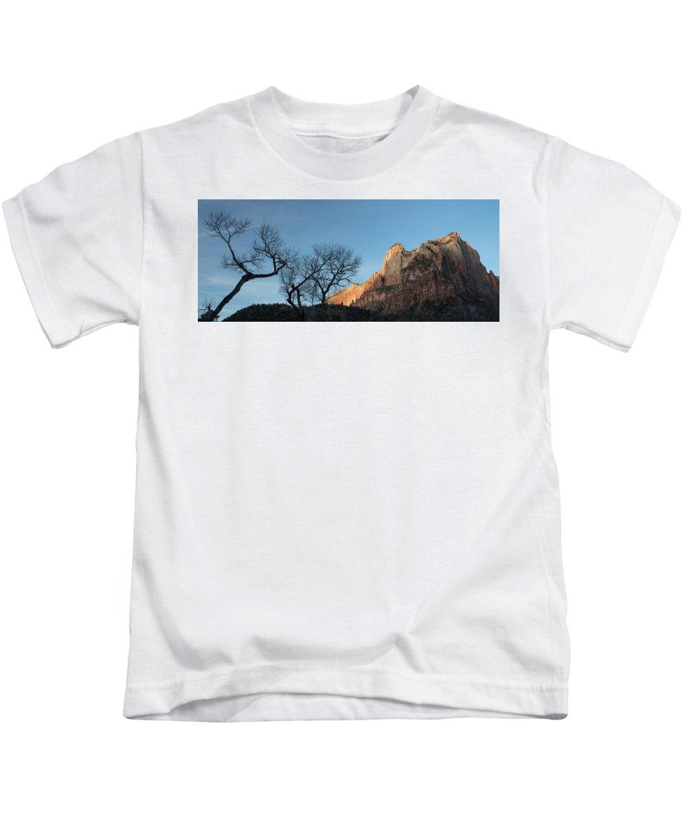 Zion Kids T-Shirt featuring the photograph Court Of The Patriarchs Sunrise Zion National Park by Steve Gadomski
