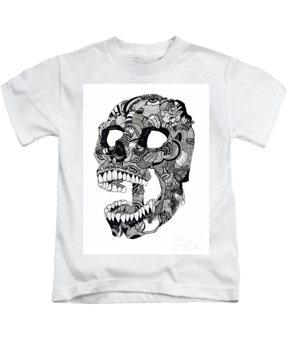 Skull Kids T-Shirt featuring the drawing Craneo by Abi
