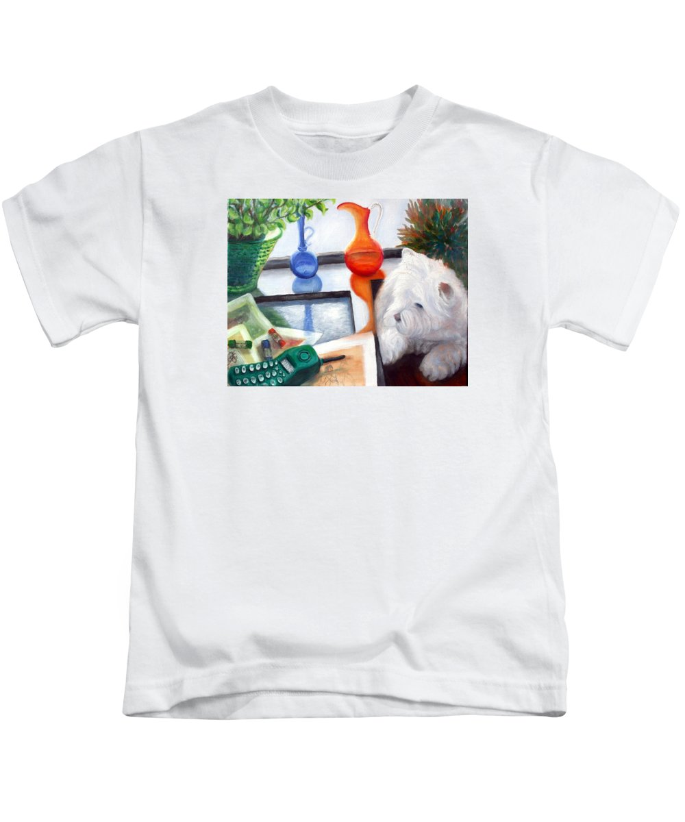 Dog Kids T-Shirt featuring the painting Creative Reflections by Minaz Jantz
