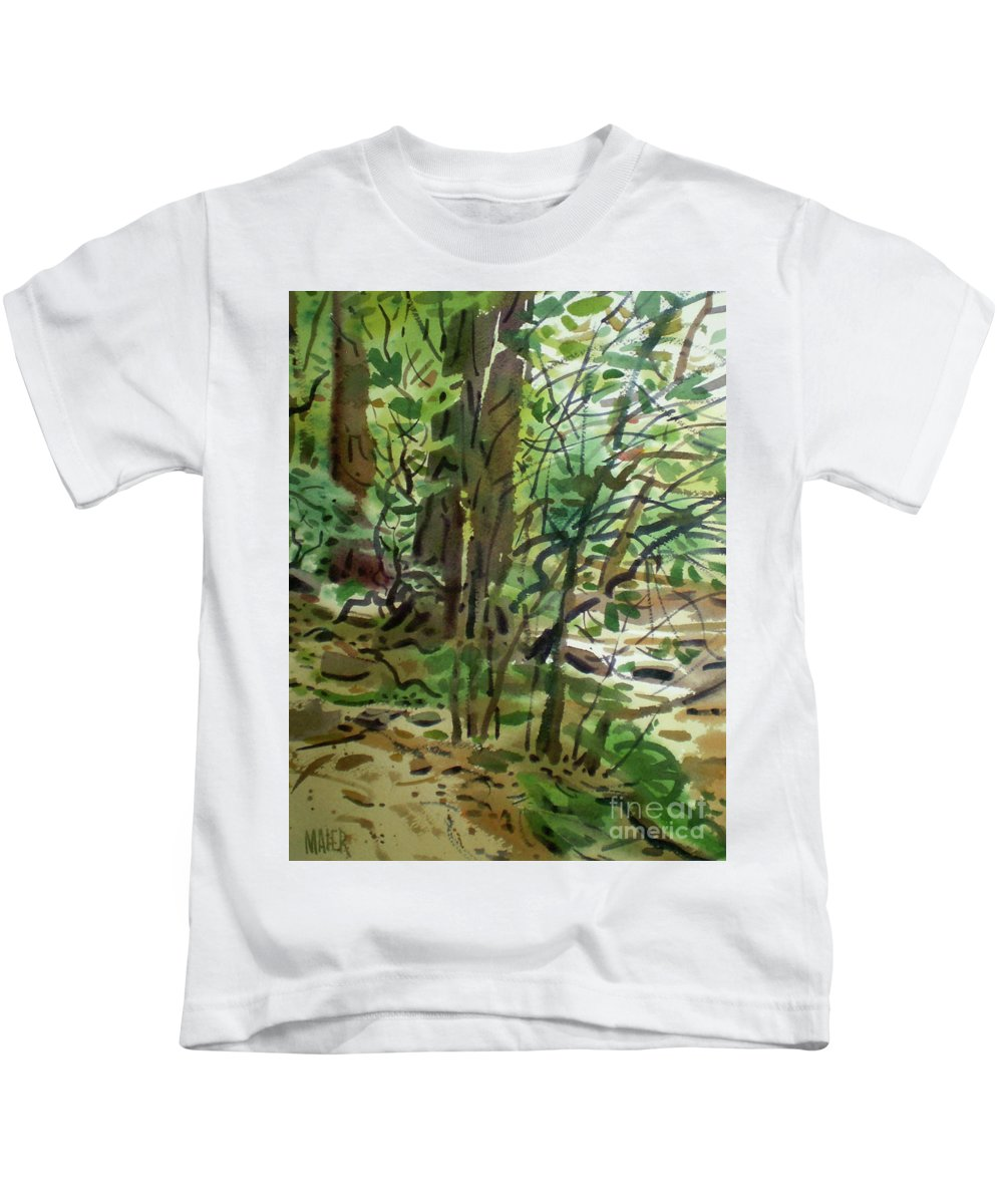 Trees And Creek Kids T-Shirt featuring the painting Creekside II by Donald Maier