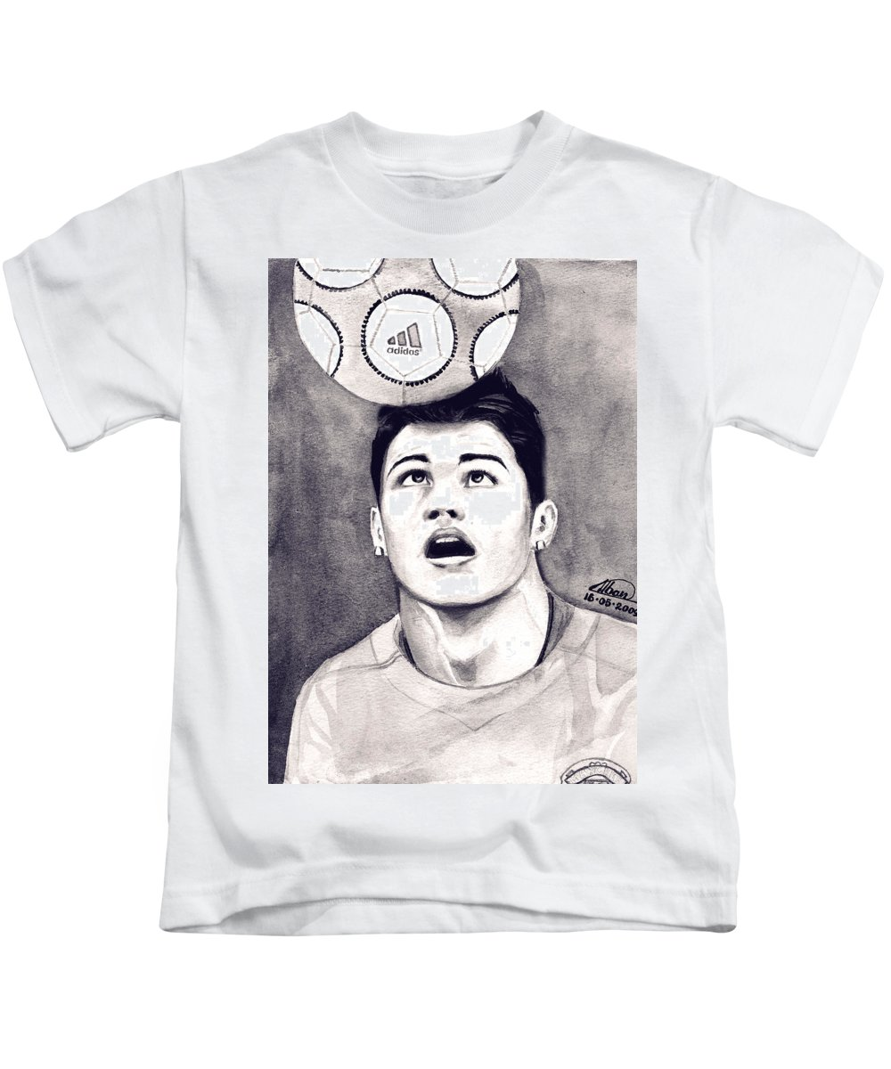Ronaldo Portrait Kids T-Shirt featuring the painting Cristiano Ronaldo by Alban Dizdari
