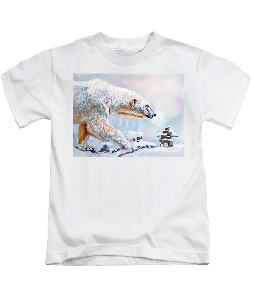 Polar Bear Kids T-Shirt featuring the painting Crossroads by J W Baker