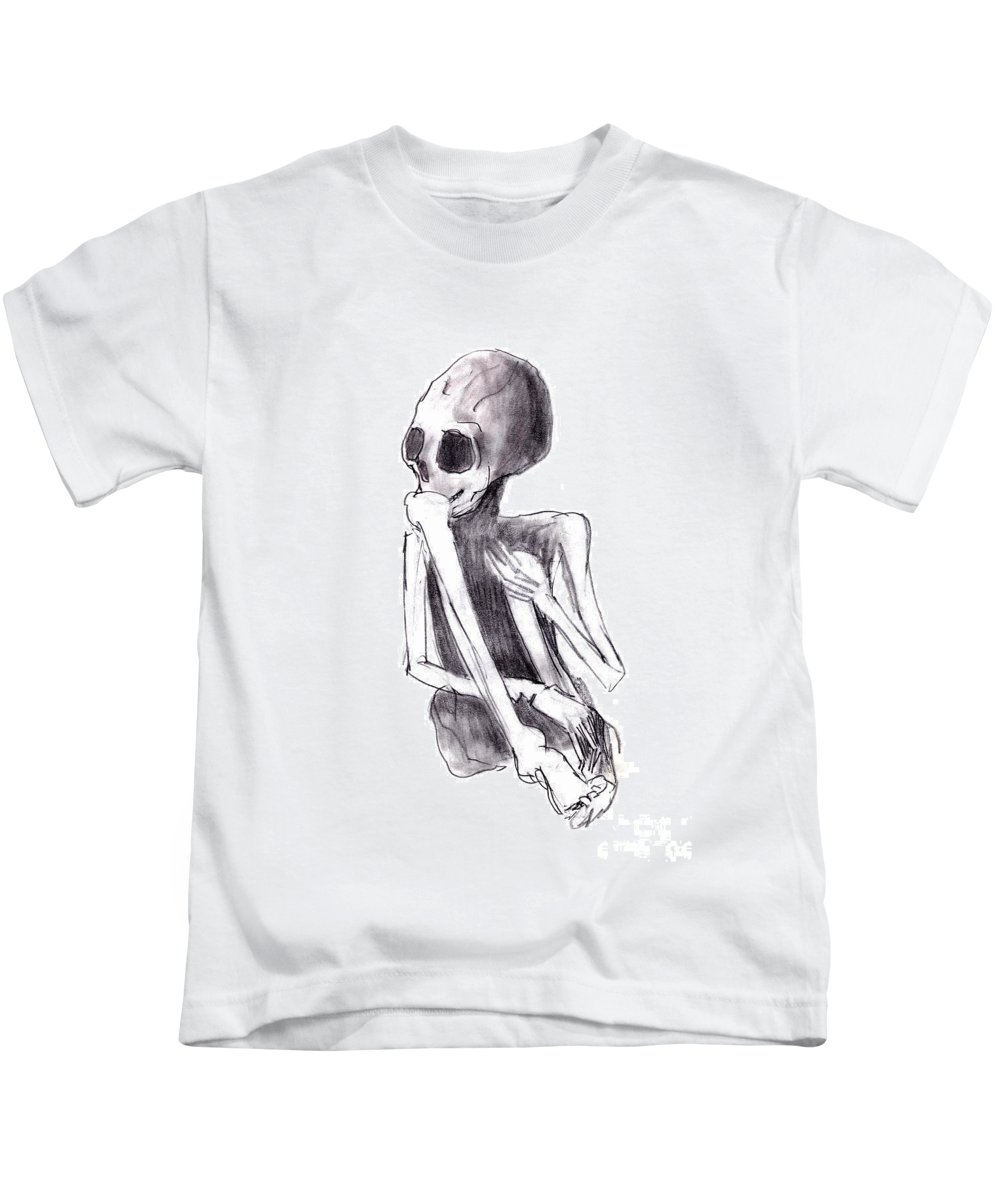 Crouched Skeleton Kids T-Shirt featuring the drawing Crouched Skeleton by Michal Boubin