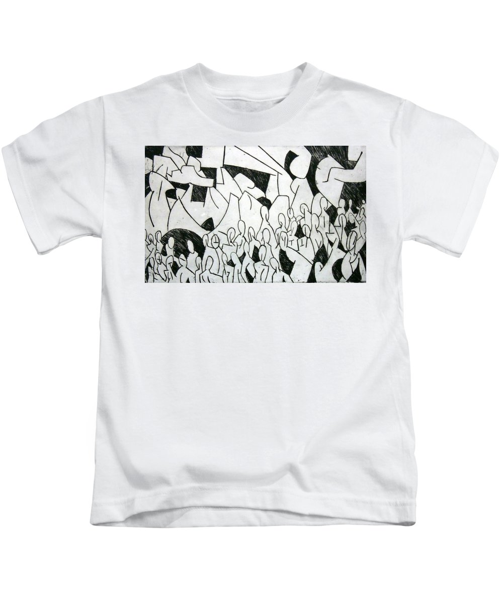 Etching Kids T-Shirt featuring the print Crowd by Thomas Valentine