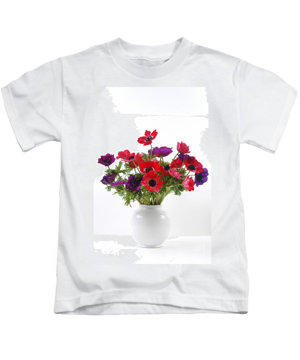 Flower Kids T-Shirt featuring the photograph crown Anemone in a white vase by Ilan Amihai
