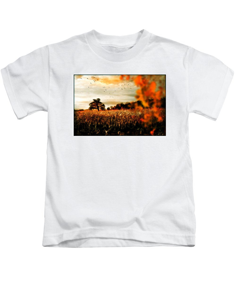 Crows Kids T-Shirt featuring the photograph Crows And Corn by Mal Bray