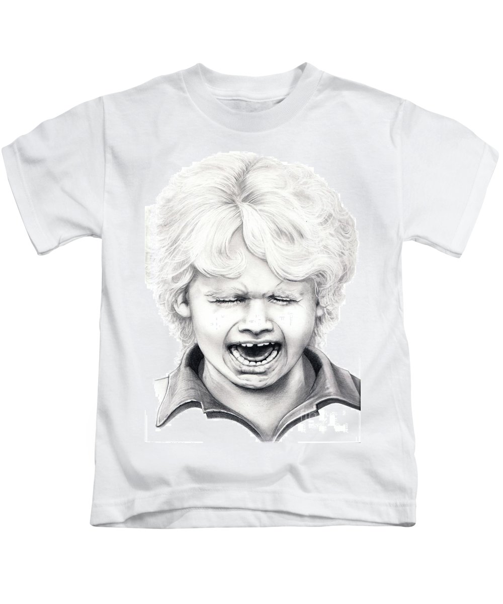 Drawing Kids T-Shirt featuring the drawing Cry Baby by Murphy Elliott