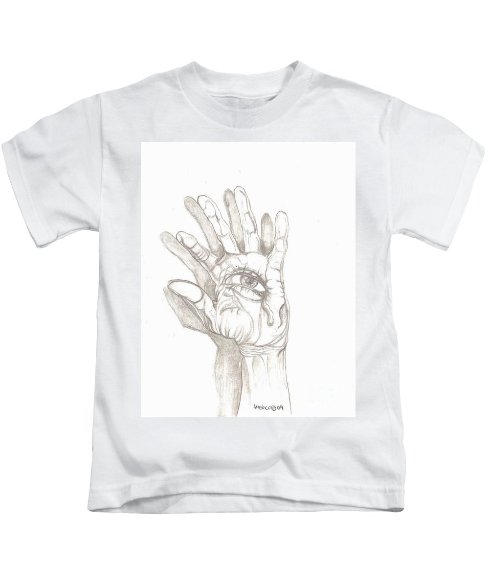 Hand Kids T-Shirt featuring the drawing Crying Hand by Americo Salazar