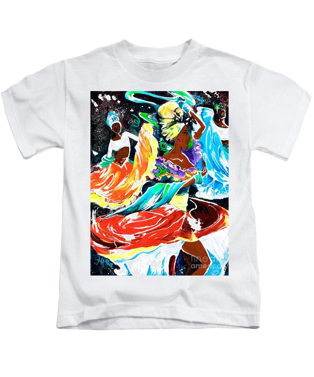 Rhythm Kids T-Shirt featuring the painting Cuban Dancers - Magical Rhythms... by Elisabeta Hermann