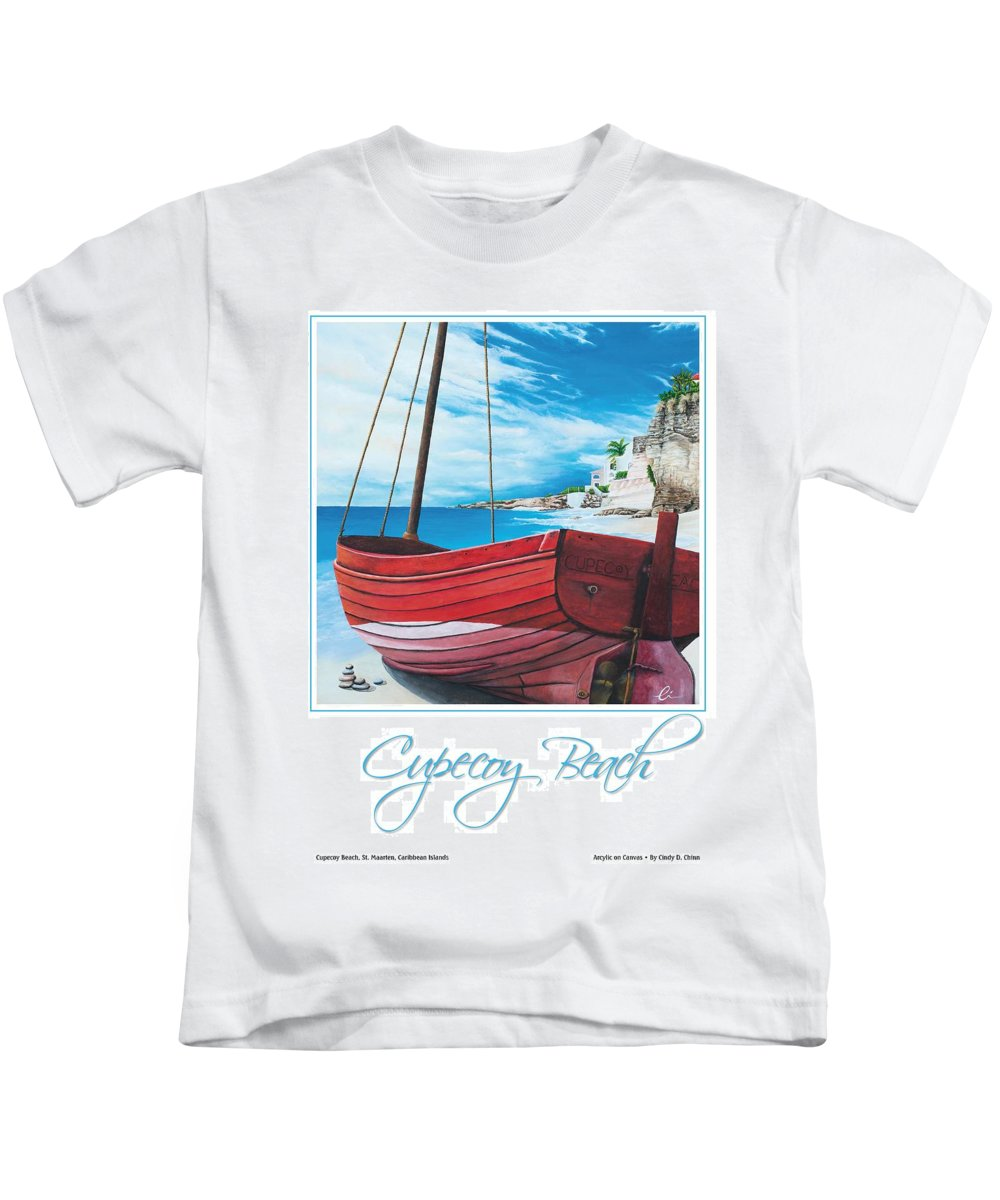 Red Kids T-Shirt featuring the painting Cupecoy Beach Poster by Cindy D Chinn