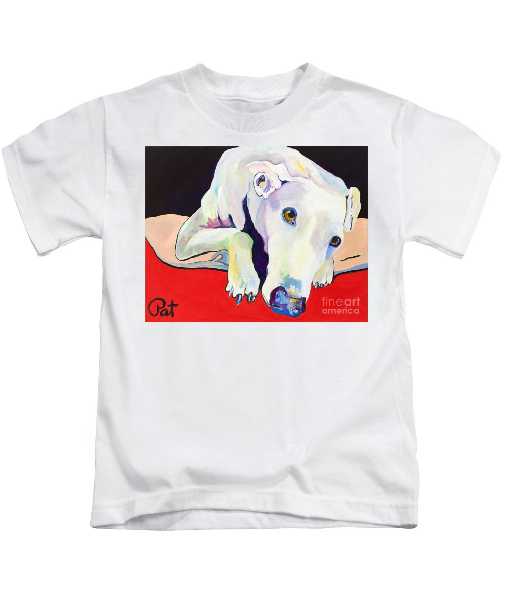 Animals Pets Greyhound Kids T-Shirt featuring the painting Cyrus by Pat Saunders-White