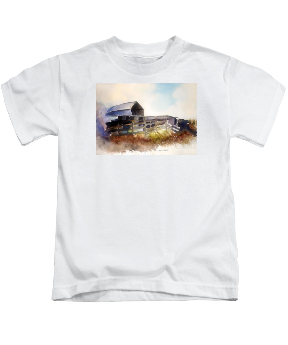 Farmhouse Kids T-Shirt featuring the painting Dad' Farmhouse by Allison Ashton