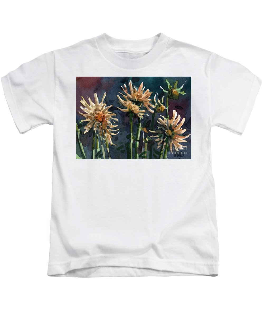 Floral Kids T-Shirt featuring the painting Dahlias by Donald Maier