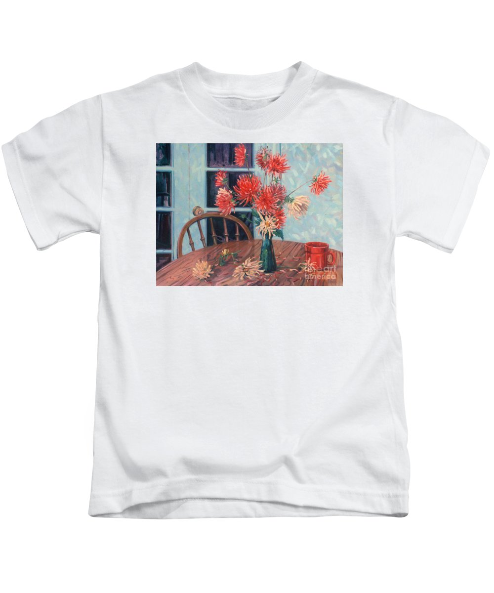 Still Life Kids T-Shirt featuring the painting Dahlias With Red Cup by Donald Maier