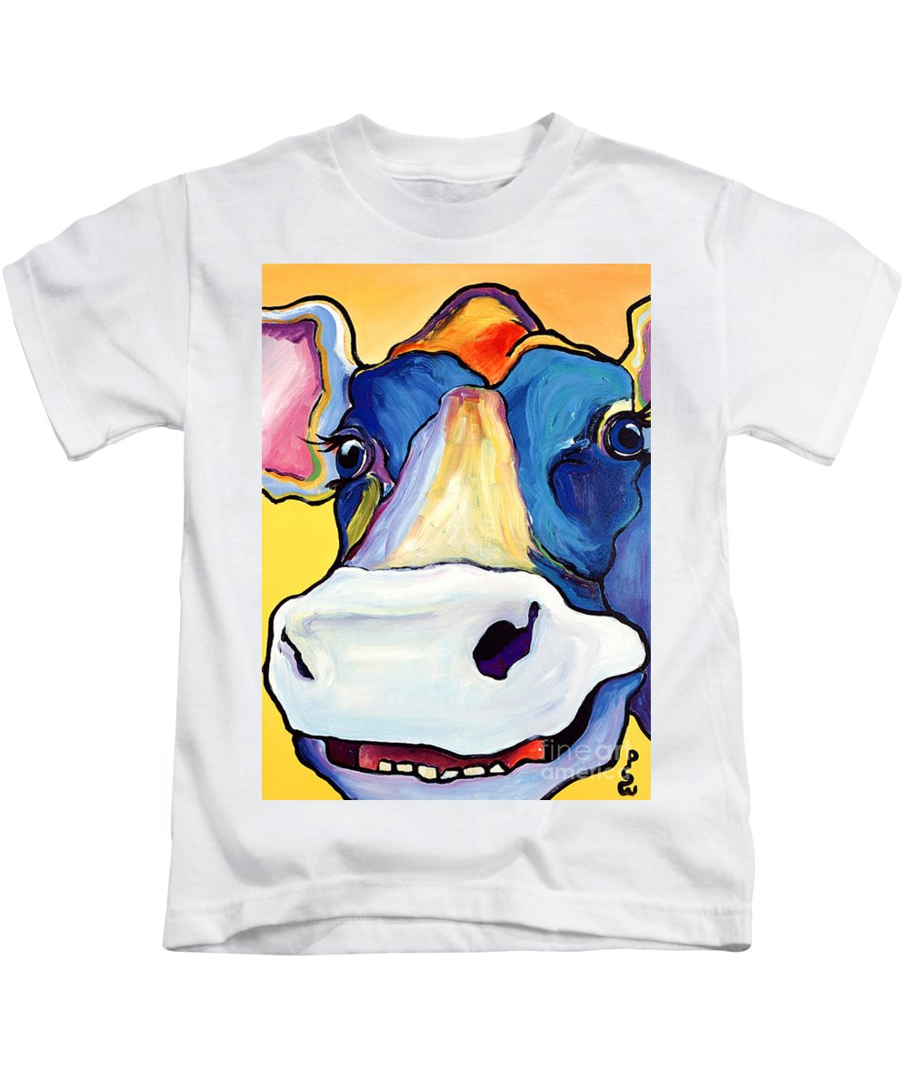 Cow Print Kids T-Shirt featuring the painting Dairy Queen I  by Pat Saunders-White