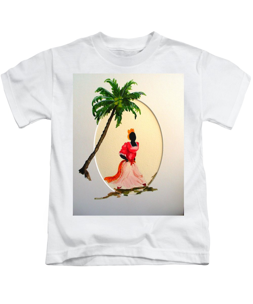 Caribbean Dancer Kids T-Shirt featuring the painting Dancer 1 by Karin Dawn Kelshall- Best