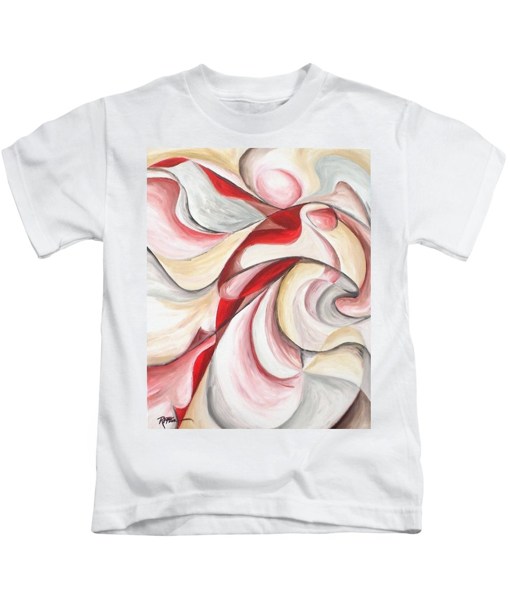 Abstract Kids T-Shirt featuring the painting Dancer by Rowena Finn