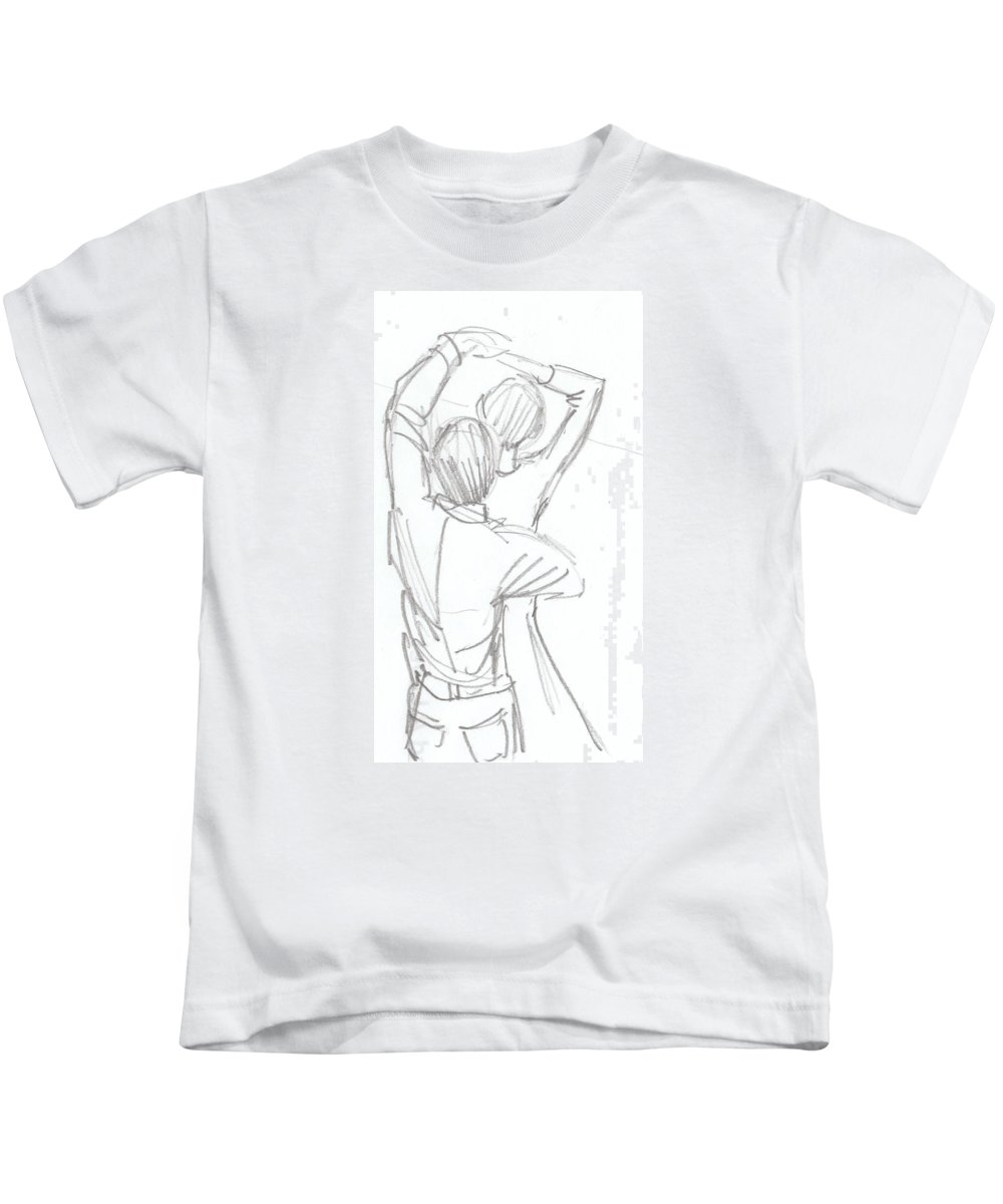 Dancing couple pencil sketch kids t shirt for sale by mike jory