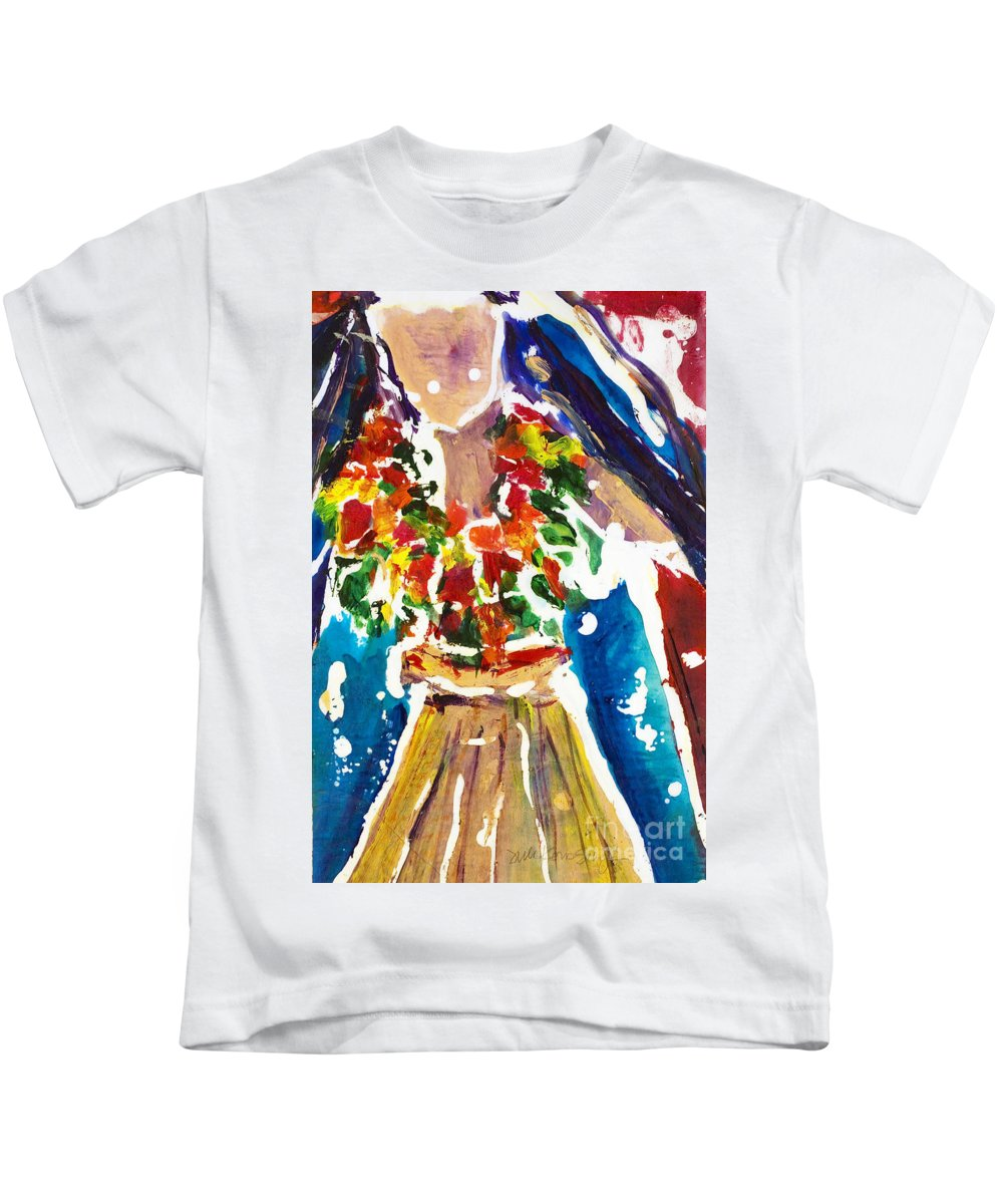 A4-csw0030 Kids T-Shirt featuring the painting Dancing Hula by Julie Kerns Schaper - Printscapes