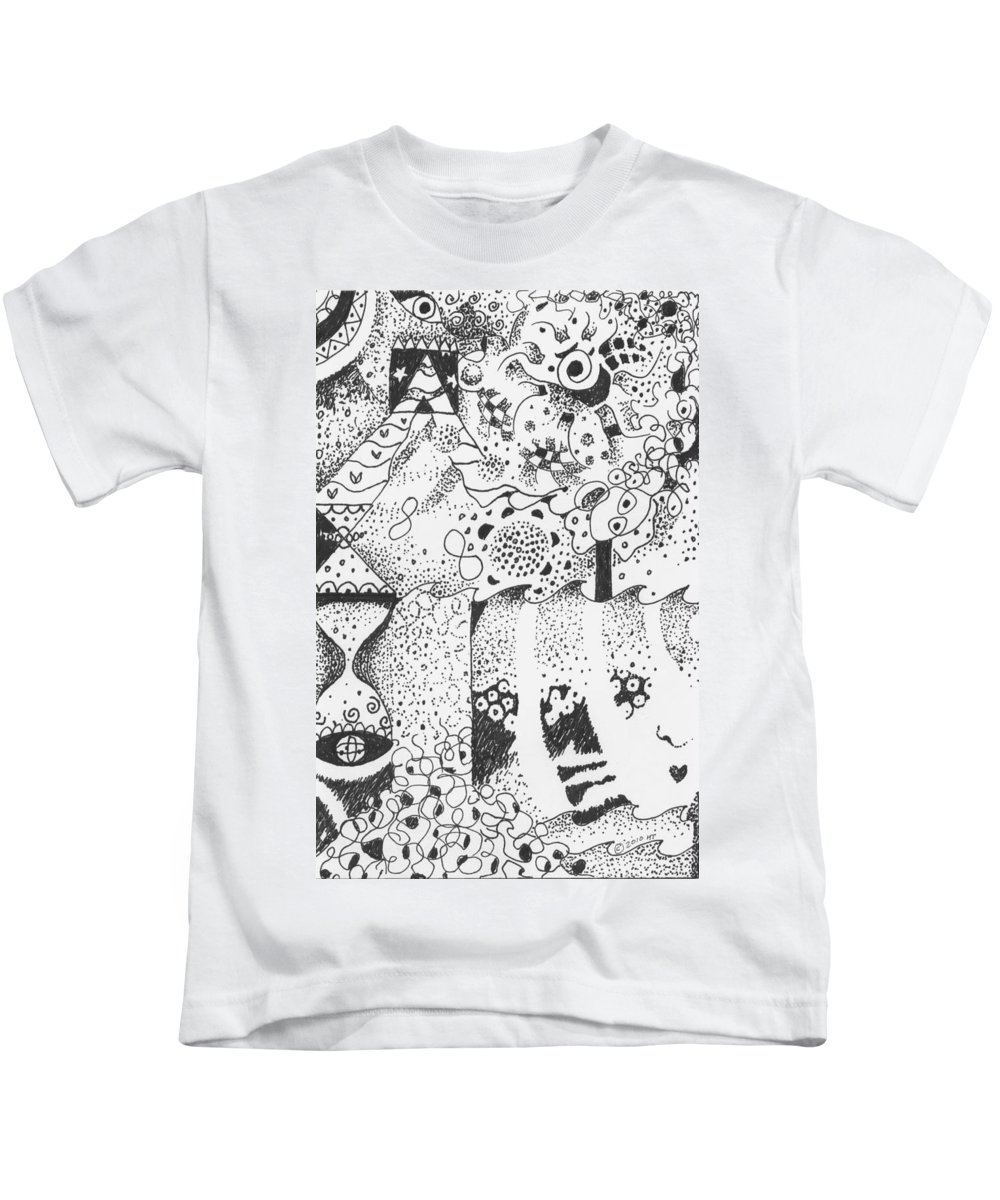 Abstract Kids T-Shirt featuring the drawing Dancing In The Dark by Helena Tiainen