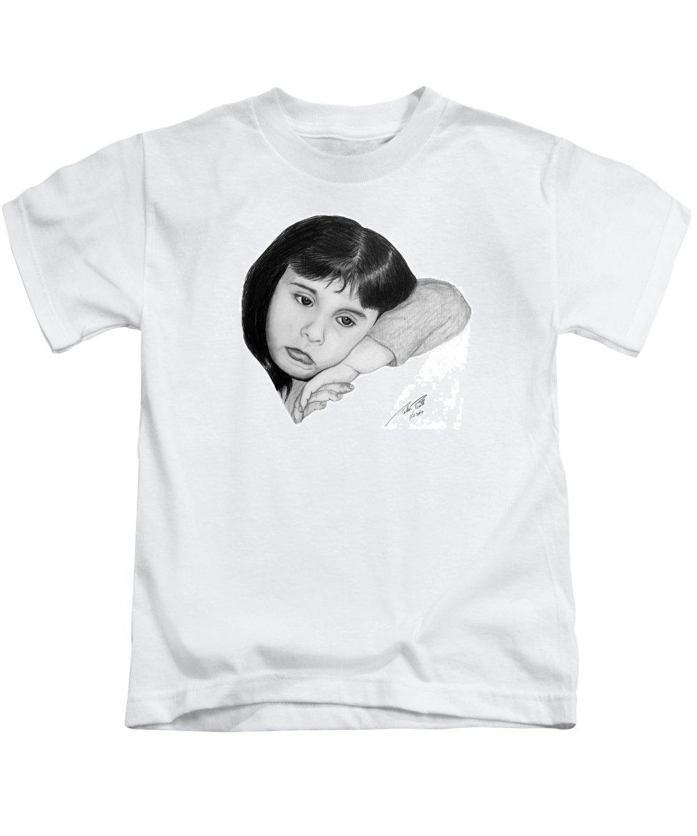 Portrait Sketch Kids T-Shirt featuring the drawing Dannie by Peter Piatt