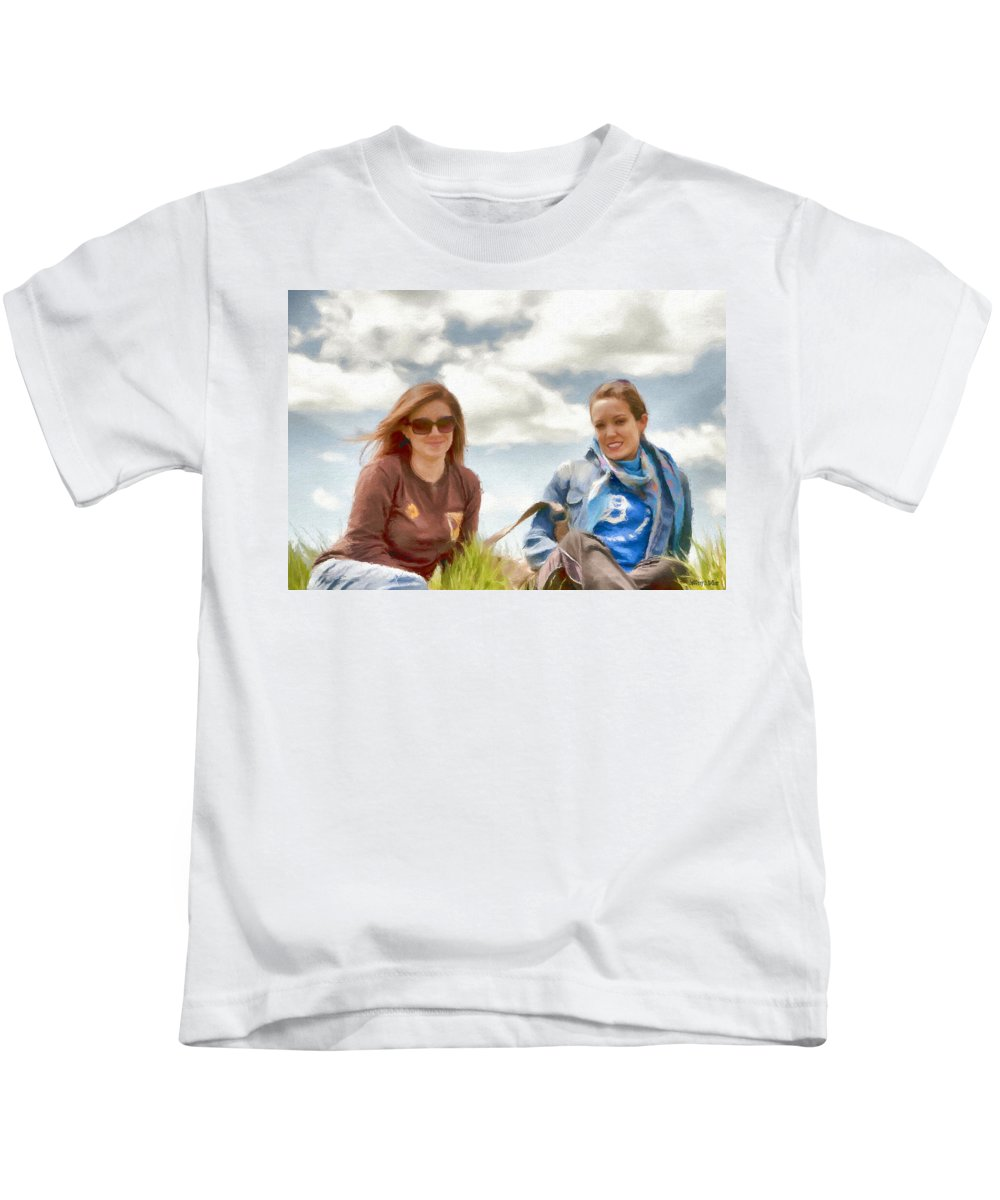 Canadian Kids T-Shirt featuring the painting Daughters by Jeffrey Kolker