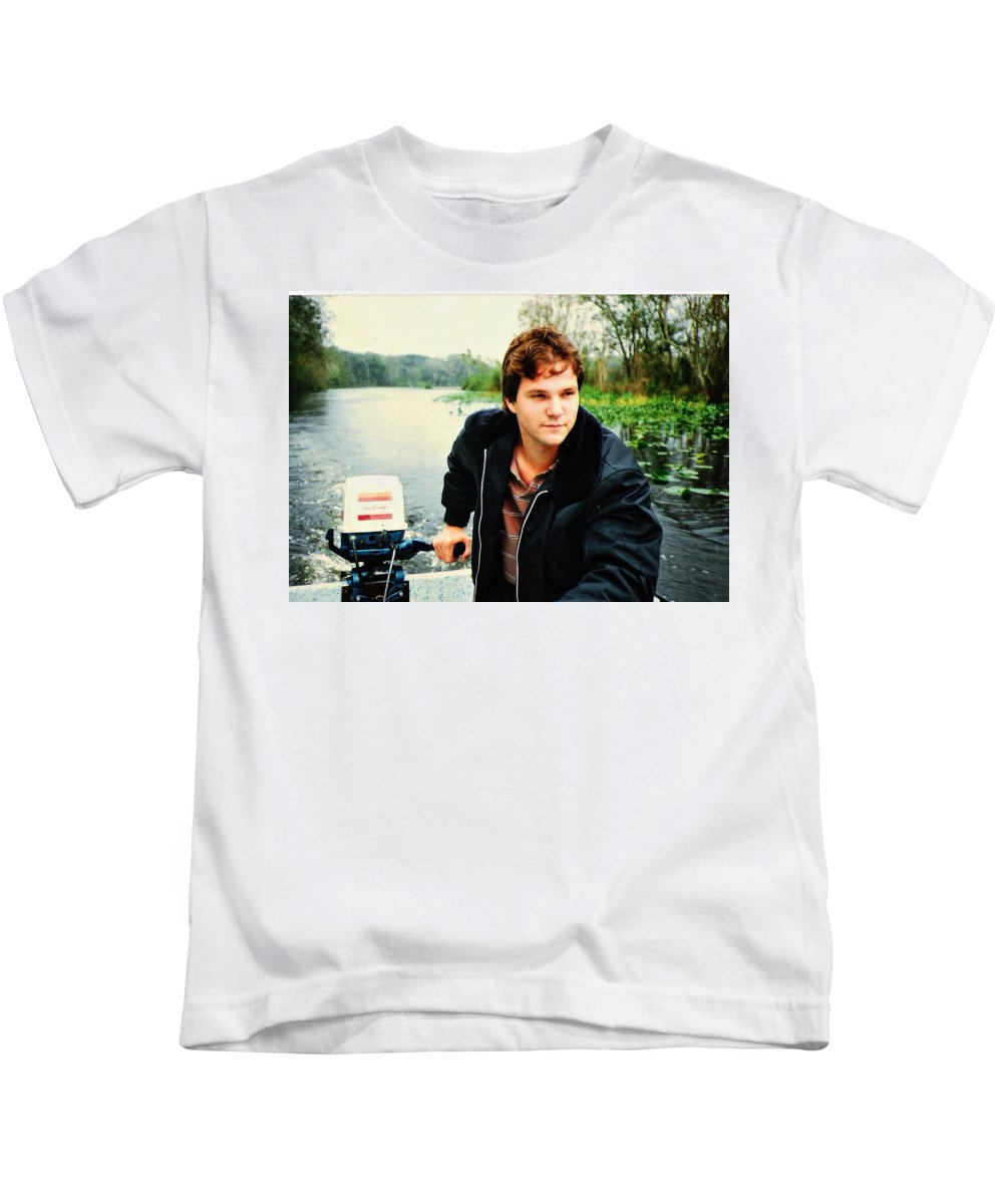 Landscape Kids T-Shirt featuring the photograph Dave And His Boat by Roger Epps