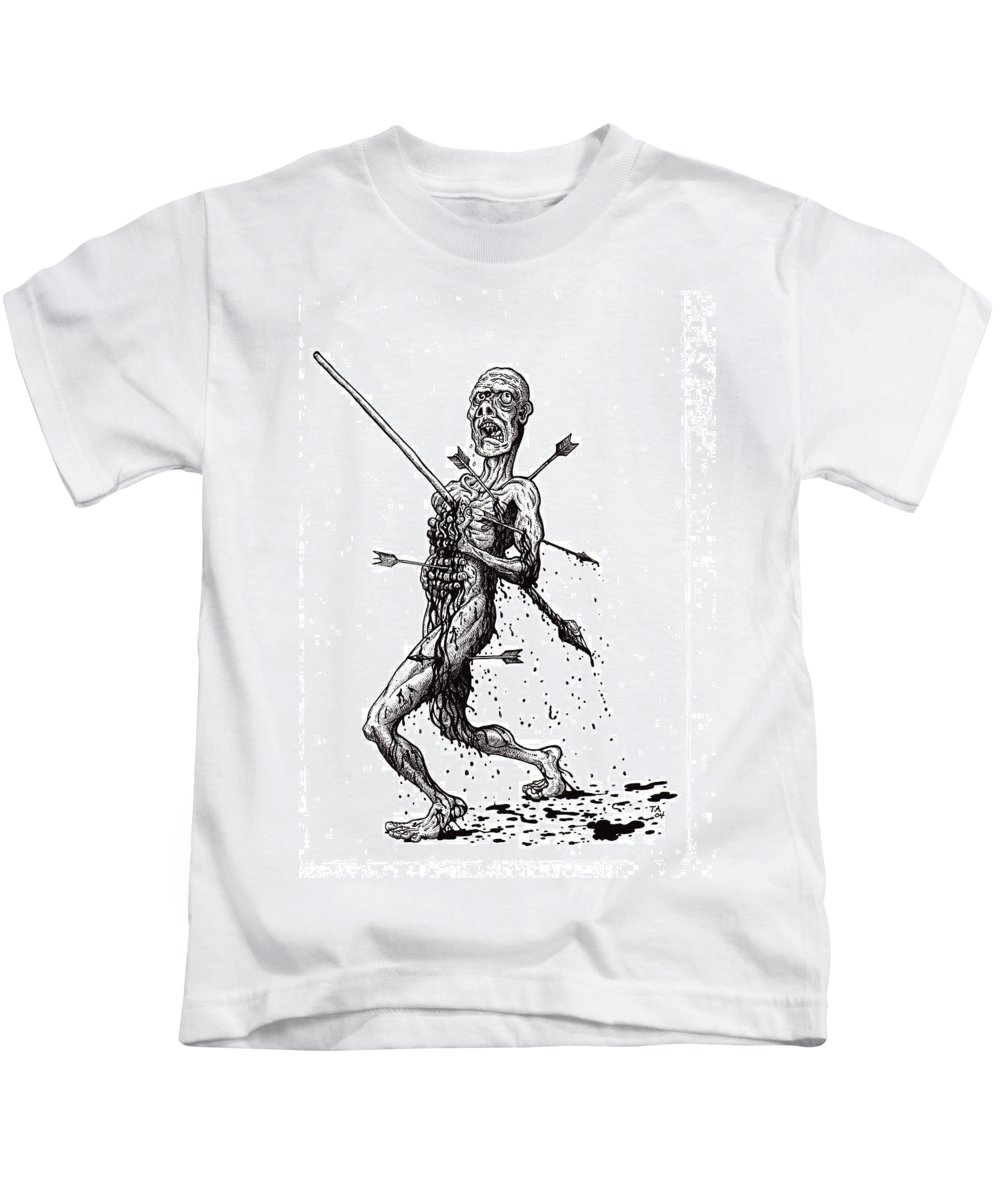 Dark Kids T-Shirt featuring the drawing Death March by Tobey Anderson