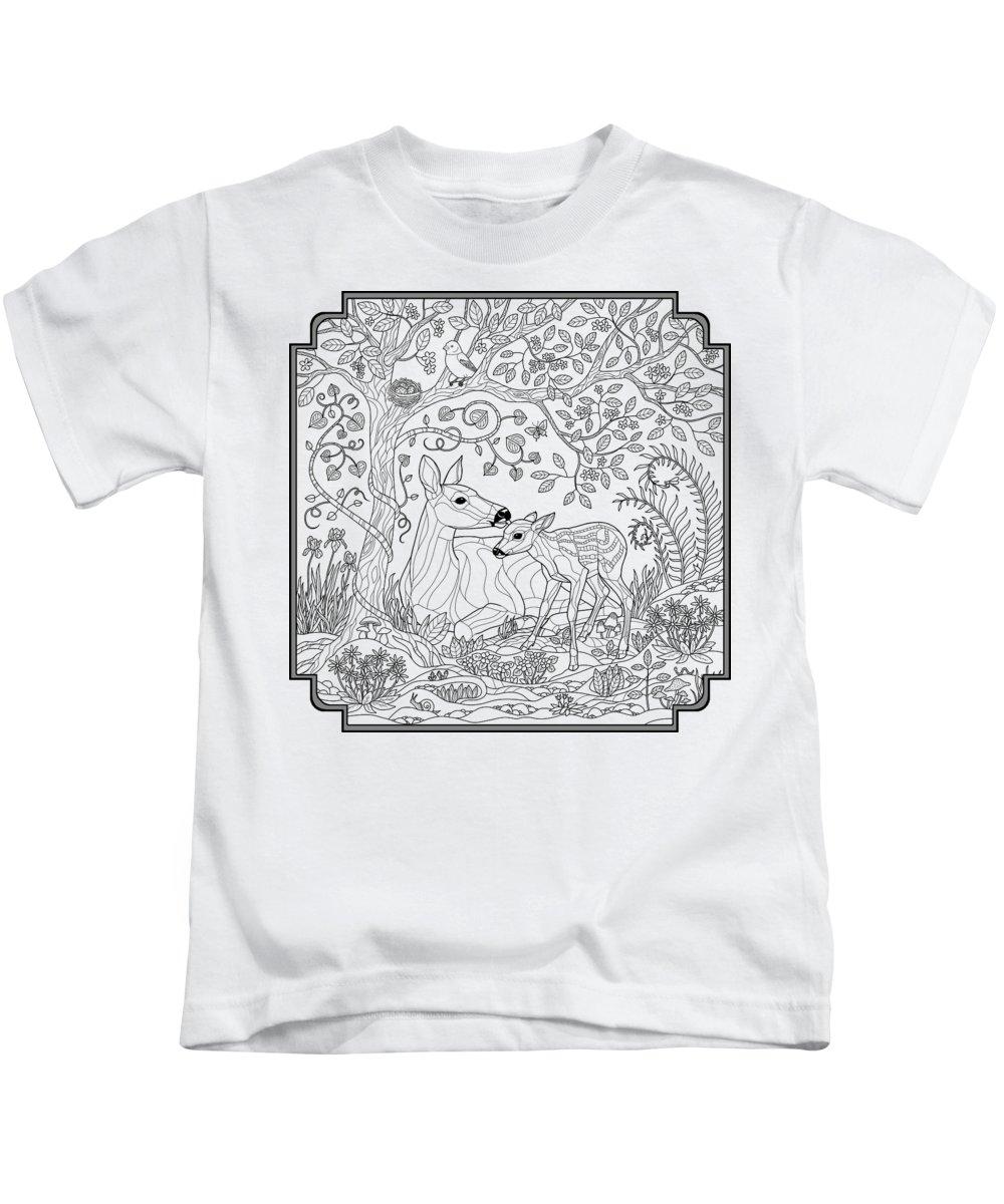 Deer Fantasy Forest Coloring Page Kids T Shirt