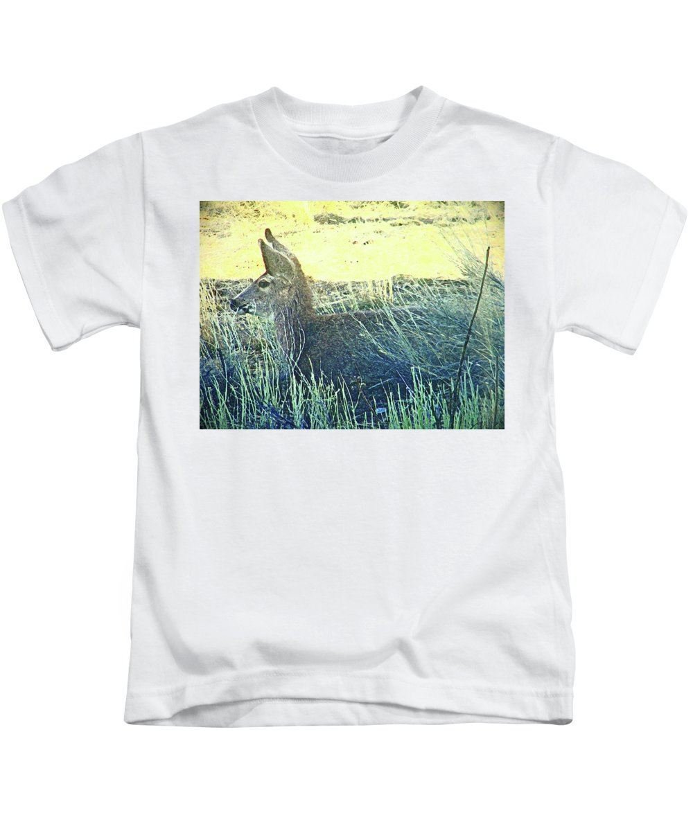Abstract Kids T-Shirt featuring the photograph Deer Lying Down by Lenore Senior