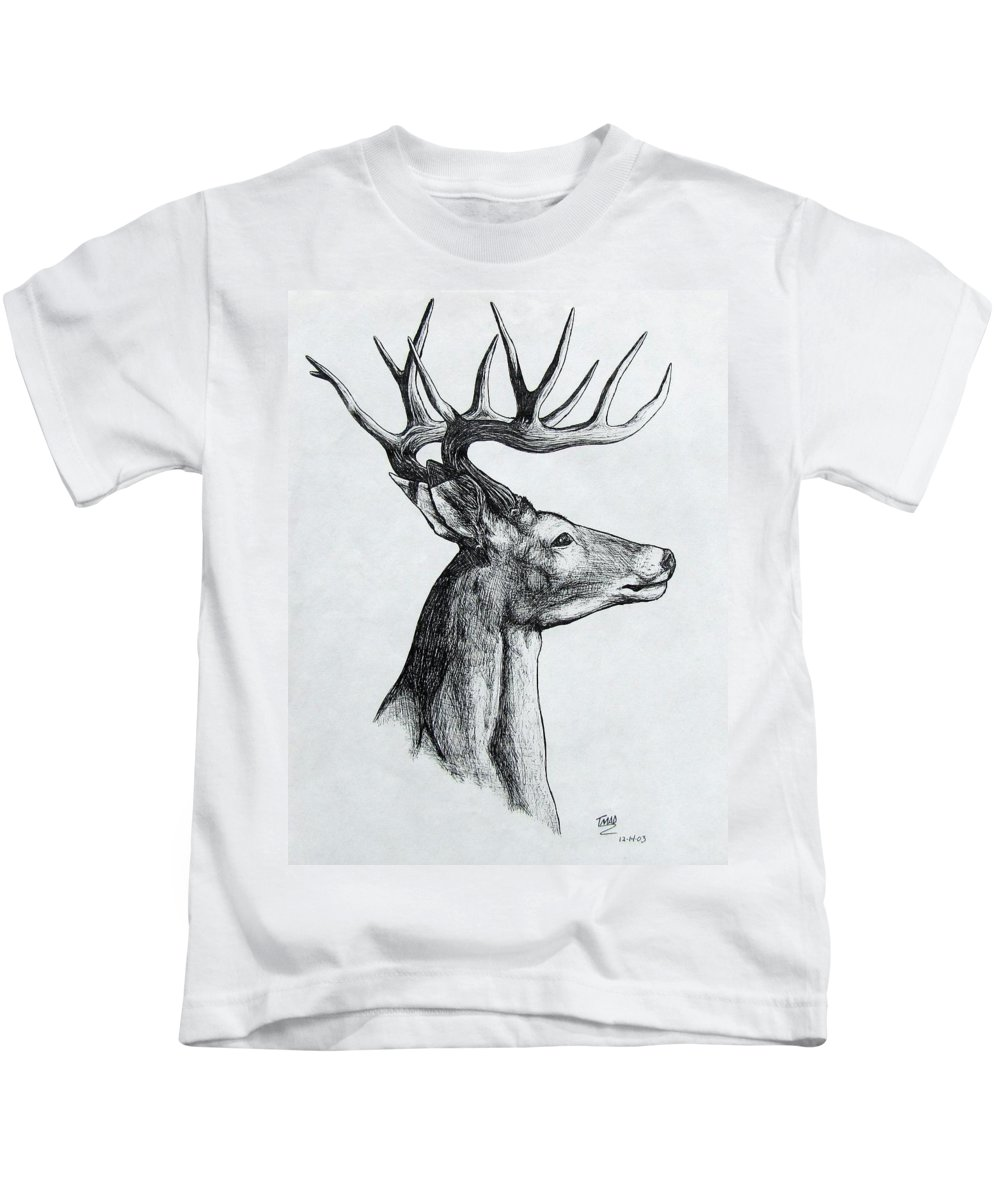 Michael Kids T-Shirt featuring the drawing Deer by Michael TMAD Finney