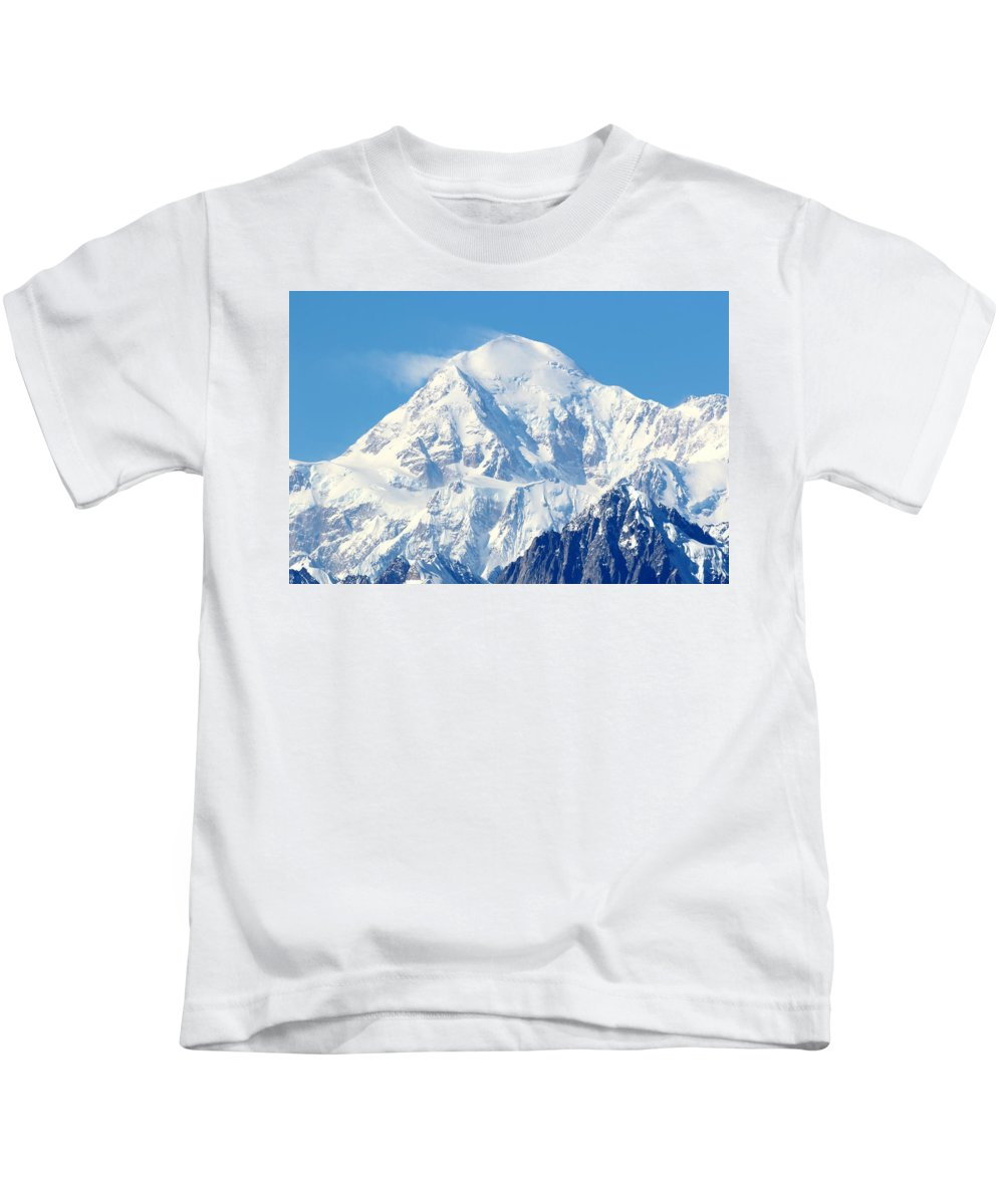 Denali Kids T-Shirt featuring the photograph Denali From Denali Viewpoint South by Steve Wolfe