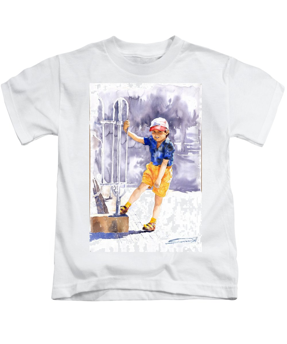 Watercolor Watercolour Figurativ Portret Kids T-Shirt featuring the painting Denis 02 by Yuriy Shevchuk