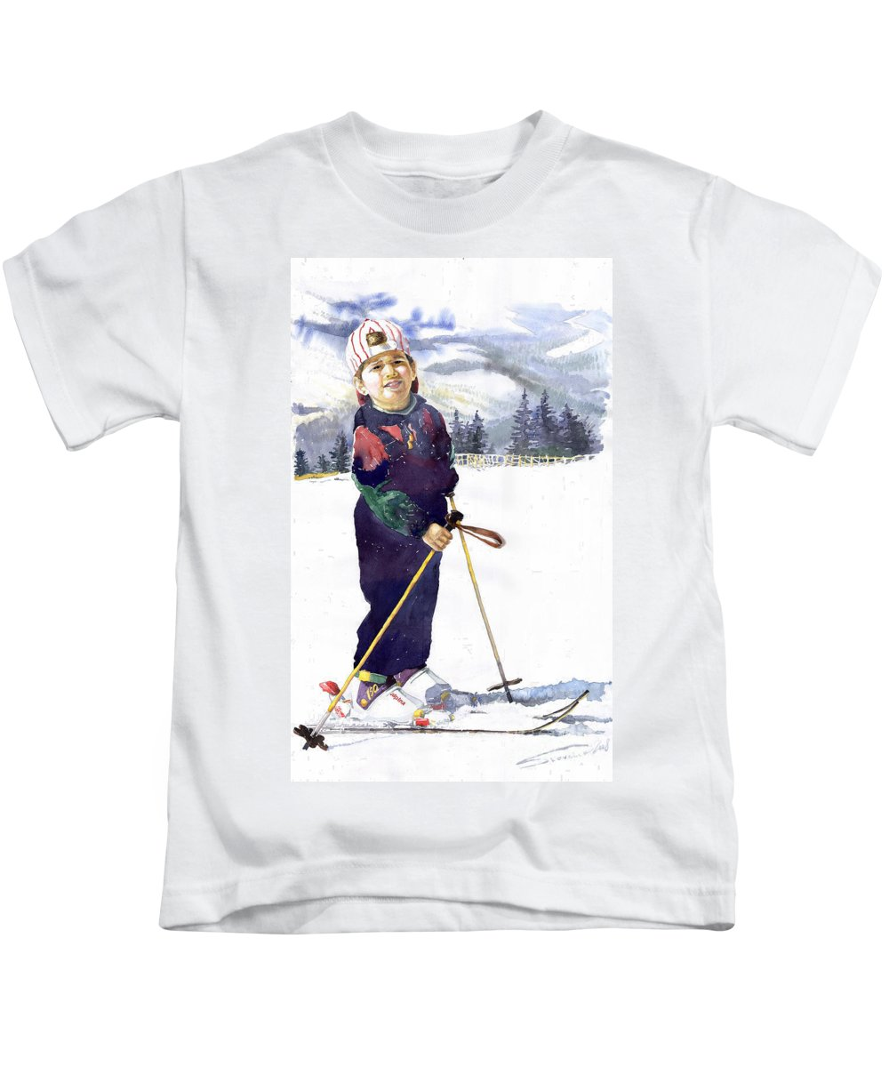 Watercolor Watercolour Figurative Ski Children Portret Realism Kids T-Shirt featuring the painting Denis 03 by Yuriy Shevchuk