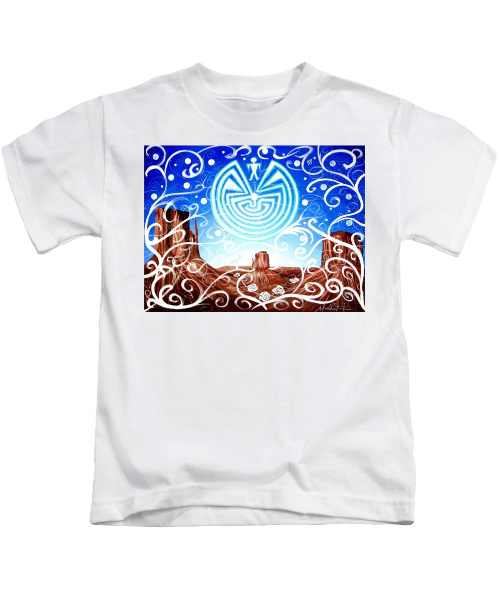 Southwestern Art Kids T-Shirt featuring the painting Desert Hallucinogens by Michelle Dallocchio