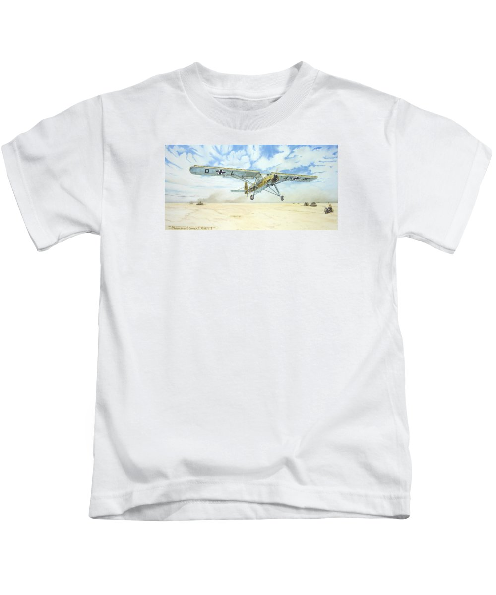 Wwii Kids T-Shirt featuring the painting Desert Storch by Marc Stewart